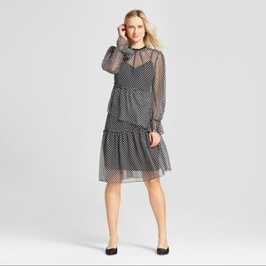 Polka Dot Asymmetrical Hem Long Sleeve Dress